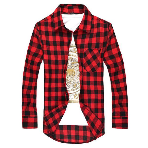 Laamei Mens Plaid Shirt New Autumn Fashion Chemise Homme Mens Slim Checkered Shirts Long Sleeve Slim Fit Shirt Men Clouses 2018