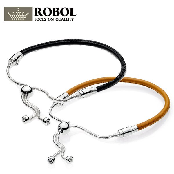 Original 925 Silver Charm Sliding Sliding Golden Tan Black Leather Bracelet, Clear CZ High Quality Leather Female Charm Bracelet