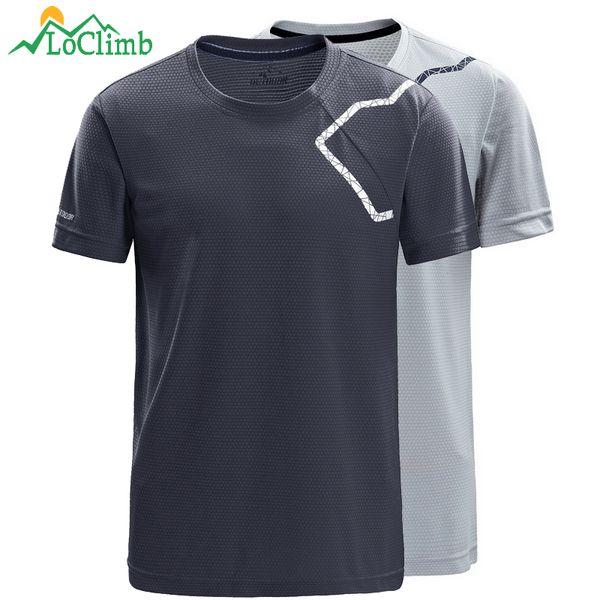 LoClimb Brand Outdoor Camping Hiking T-Shirt Men Summer Quick Dry Tshirt Outdoor Climbing Trekking Men's Sport T Shirt AM264