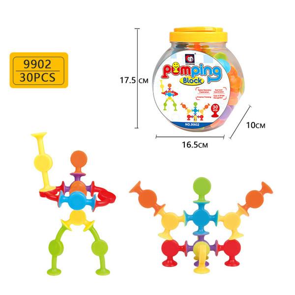 30 pçs / set crianças diy blocos de construção de silicone montado otário ventosa toy construção crianças inteligência brinquedos novidade itens aaa936