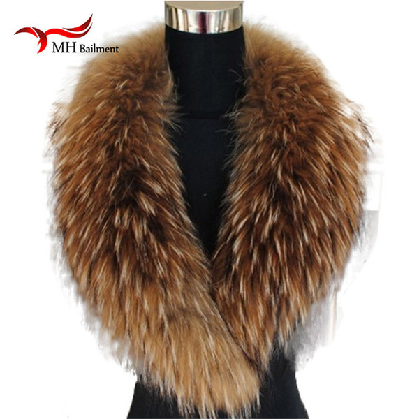 Natural Color Raccoon Fox Real Fur Collar Scarf Genuine Big Size Scarves Warp Shawl Neck Warmer Stole Muffler with Clip Loops #6 D18102406