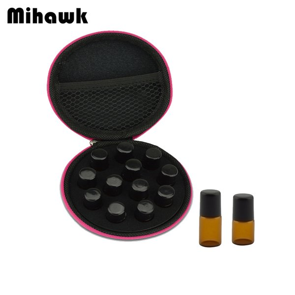 Mihawk 12 Grid PU Essential Oil Shockproof Nail Polish Aroma Cosmetic Tote Rollers Perfume Bottle Toiletry Bag Protective Pouch