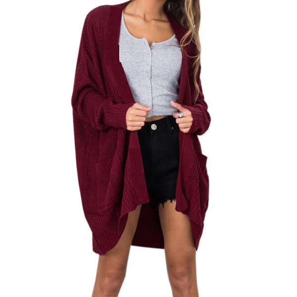 Open Stitch Women Knitted Sweater Cardigan Female Knitting Warm Winter Sweaters Plus Size Casual Outfit Pockets Autumn Top GV141