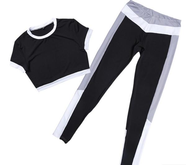 Women Tracksuit Yoga Set Patchwork Running Fitness Jogging T-shirt Leggings Sport Suit Gym Sportswear Workout Clothing