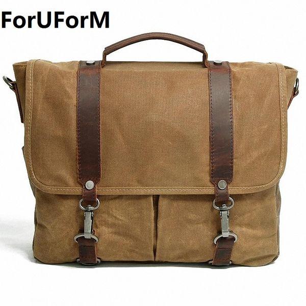 ForUForM Waterproof Canvas Casual Crossbody Bag Men Vintage School Messenger Bag Briefcase Shoulder Travel Handbag LI-1939