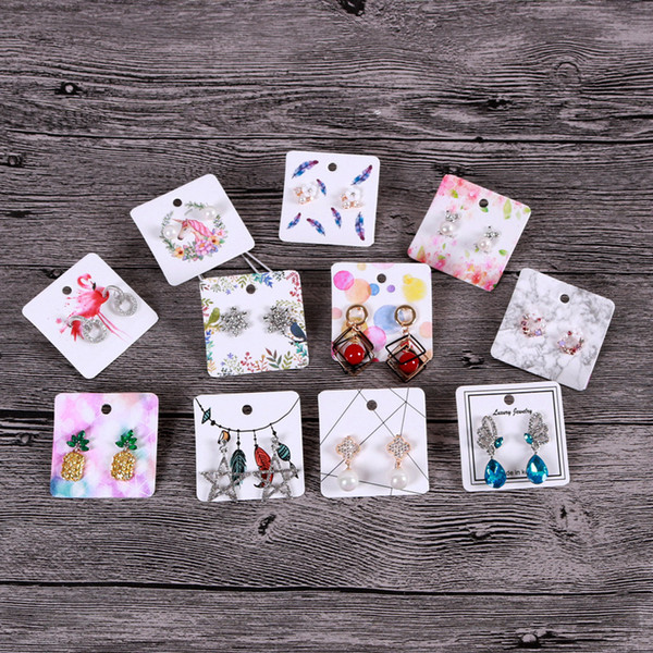 top popular 5*5cm Colorful Printing Paper Stud Earings Dangle Earring Mini Display Card Cute Jewelry Hang Tag custom logo cost extra 2021