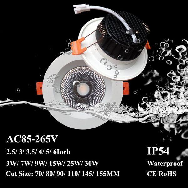 Faretto da incasso a LED impermeabile IP54 COB 7W 12W 15W 4 '' 6 '' da incasso Lampade da soffitto Epistar AC110-240V Faretto a risparmio energetico