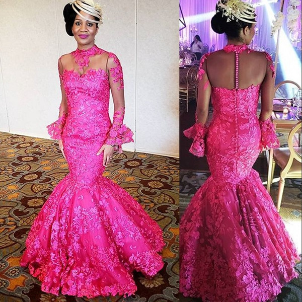 Fuchsia Sexy Mermaid Prom Dresses High Neck Long Sleeve Lace Appliques Formal Party Gowns Asoebi Sheer Back Floor Length Evening Dresses