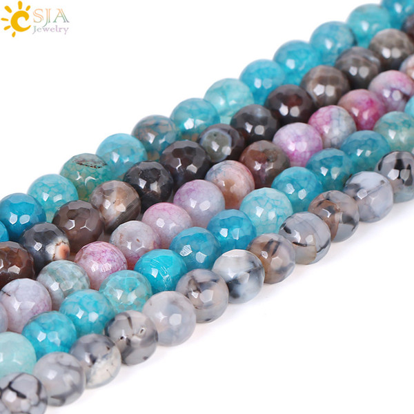 CSJA 10mm Natural Stone Loose Beads Colorful Round Faceted Dragon Vein Agates for Bracelet Jewelry Diy Making Creative Gift Wholesale F313