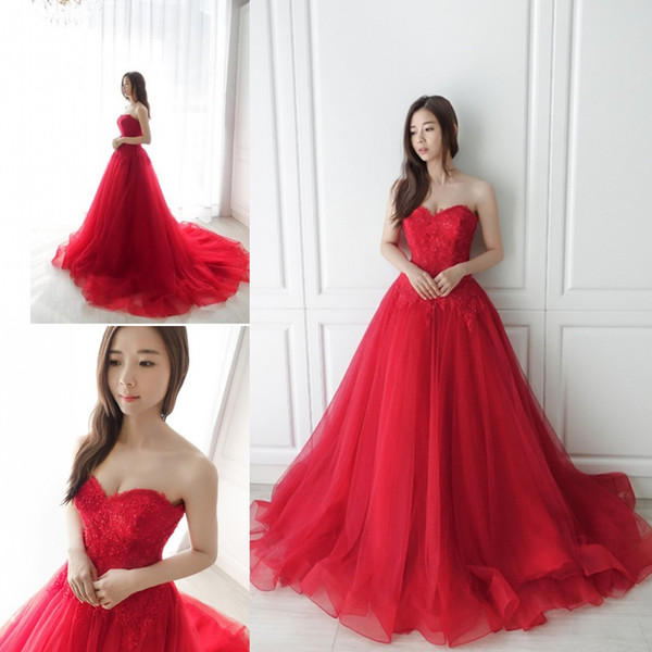 c7aa00b739c Latest Sweetheart Neck Red Prom Dresses Appliques Lace up Back Long Evening  Dresses Party Gowns Robe