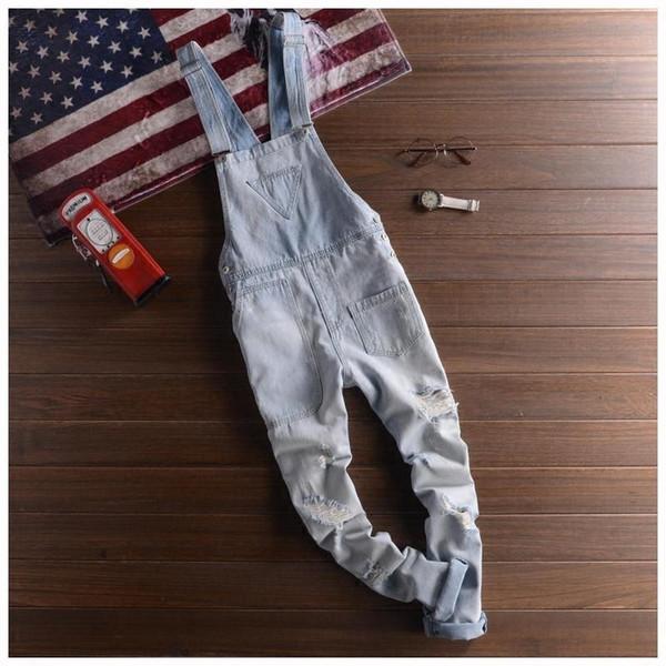 Mens Camo Bib Overalls Pants Fashion Slim Skinny Ripped Denim Overalls Jeans Man Casual Blue Denim Jumpsuits Jeans For Men