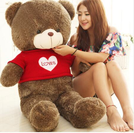 7 Styles 120-160cm Teddy Bear Dolls Ted Large Teddy Plush Toy Giant Bear Girls' Valentine Present LOVES Bear in Sweater Shirt