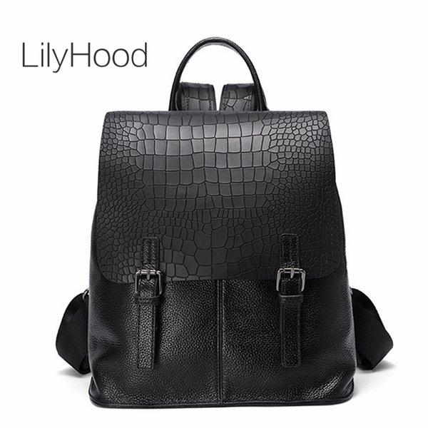 569cef242da0 LilyHood Genuine Leather Backpack For Women Unisex Trendy Fashion Alligator  Black Rucksack Back To School