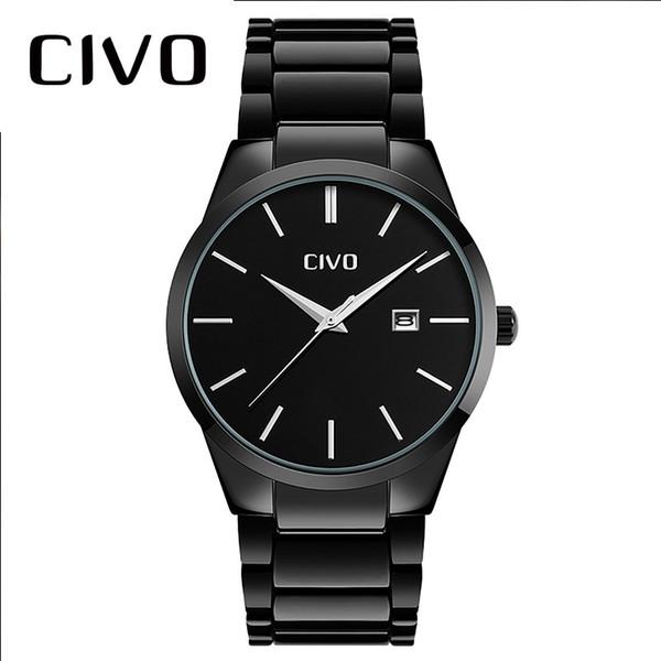 CIVO Casual Business Mens Watches Black Stainless Steel Quartz Wrist Watch Waterproof Date Calendar Analogue Watch For Men Clock
