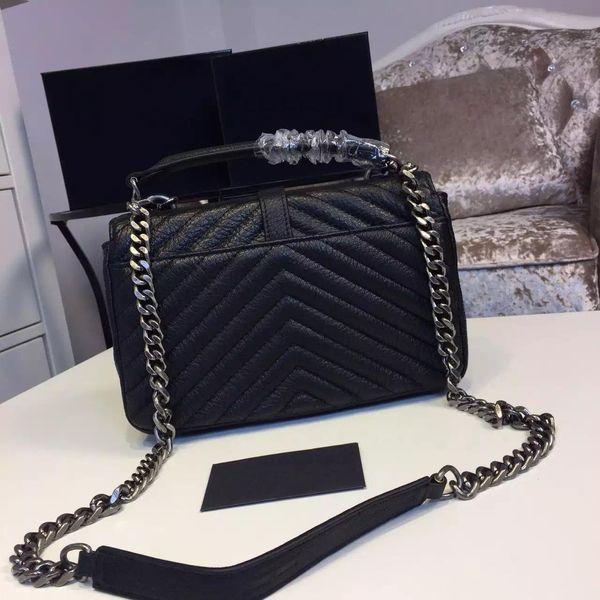 Genuine Lambskin Leather Ladies Handbags Fashion Women Luxury Messenger Famous Designer College Chains Shoulder Bags High Quality Purses