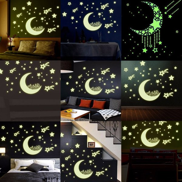 Romantic Night Luminous Stars Fluorescent 3D Wall Stickers Children\'S  Bedroom Stickers Glow In The Dark Star For Home Wall Decal Wall Decals Kids  Wall ...