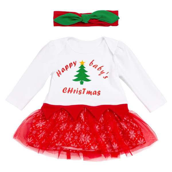 Tutu Lace Baby Chritsmas Clothes For 0 - 24Month Girls Long Sleeve Christmas Clothes Headband Dresses Snowflake Costume