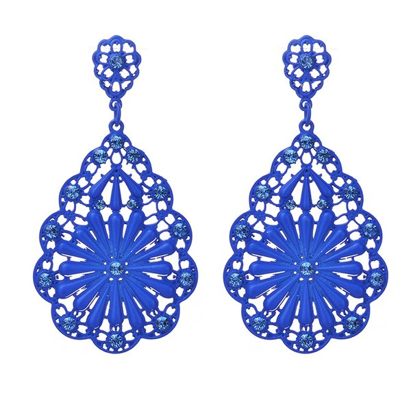 Elegant Baroque style Fine jewelry Earrings Inlaid Austria Crystal Retro elements Spray paint flower type brand Hollowed out girl Ear Studs
