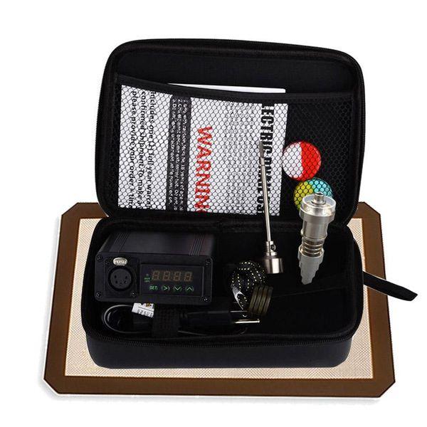 Portátil titanium enail dab unha elétrica pid controle de temperatura e prego kit dnail vaporizador de cera 16mm 20mm óleo bongs bongo de vidro
