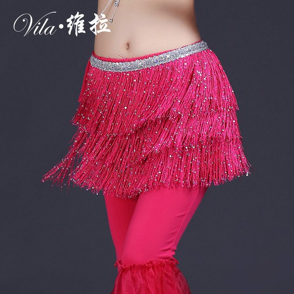 2018 New Arrivals Women Belly Dance Clothing Accessories Tassel Belts Belly Dance Hip Scarf Sequins Belts