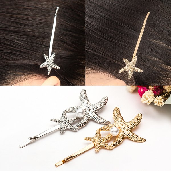 Gold-plated Shell Starfish Hair Clip Simple Alloy Imitation Pearl Barrettes Jewelry 2018 New Fashion Bridal Hairpins Wholesale Free Shipping