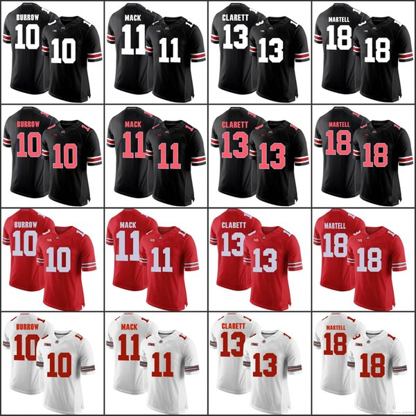 Gewohnheit 2018 Ohio State Buckeyes Weiß Grau Schwarzes Tarn-Trikot Haskins Jr. George Dobbins Roter OSU-College-Fußball nähte jeden beliebigen Namen