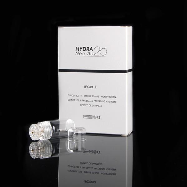 Hydra Needle 20 Ouro Micro agulhas Rolo automático Dicas Derma com tubo de gel 6 ml Rolo de pele derma Sistema selo CE 0,25 milímetros 0,5 milímetros 1 milímetro
