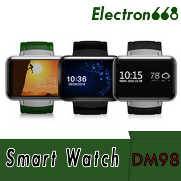DM98 Akıllı İzle Android 4.4 MTK6572 Çift Çekirdekli 1.2 Ghz 2.2 inç IPS HD 900 mAh Pil 512 MB Ram 4 GB Rom 3G WCDMA GPS WIFI smartwatch