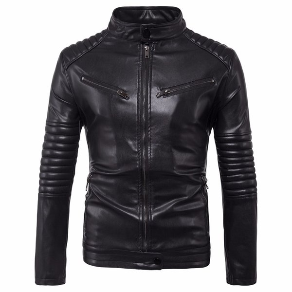 2017 Men Classic Black Motorcycle Leather Jackets Russia Handsome Male Autumn Winter PU Coats Plus Size Business Casual Jackets