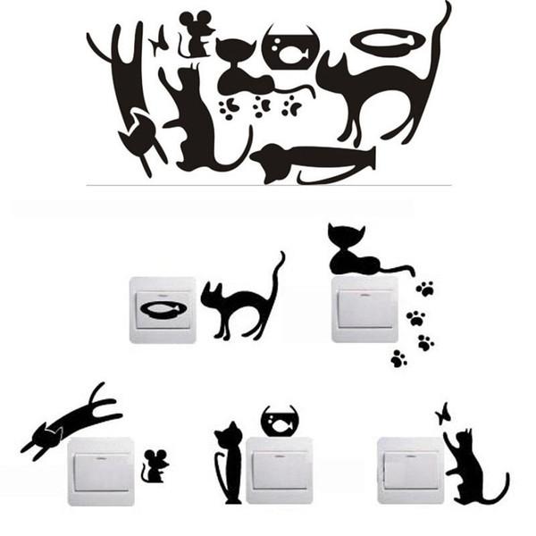 1 Conjunto de 5 Gato Preto Dos Desenhos Animados Gato Preto Interruptor Casa Adesivos Adesivos de Parede Personalizado Decorado Soquete