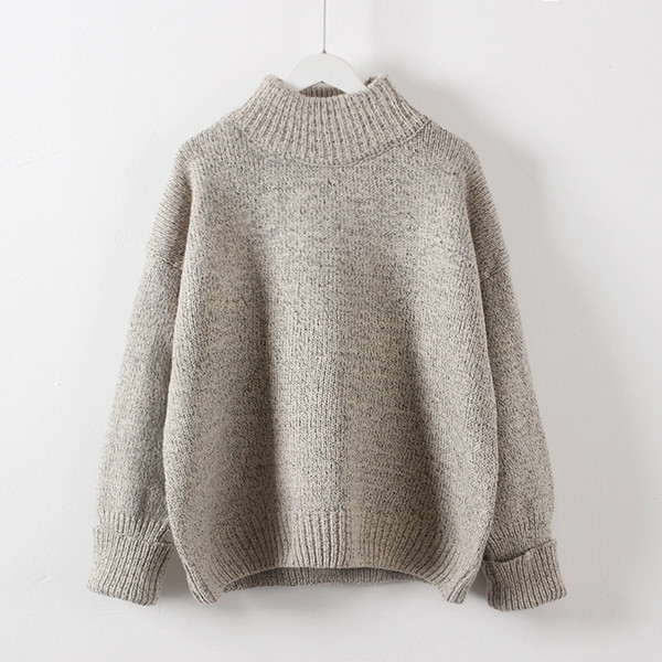 2018 Autumn Winter Thickening Warm Pullovers High Collar Loose Girl Knitted Sweater Grey Wine Green Solid Short Design Fashion