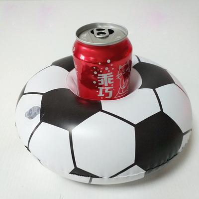 Inflatable Football Drink Cup Holder Send Inflator Summer Hot Sale Soccer Ball Cup Seat Inflatable Beach Pool Float Coaster Toys