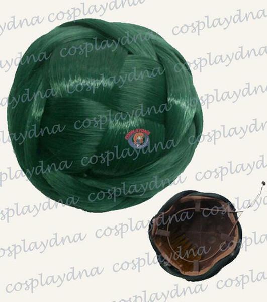 Free shipping>>> Dark Green Bun Updo Hair Extensions Clip in Odango Braid Hairpiece