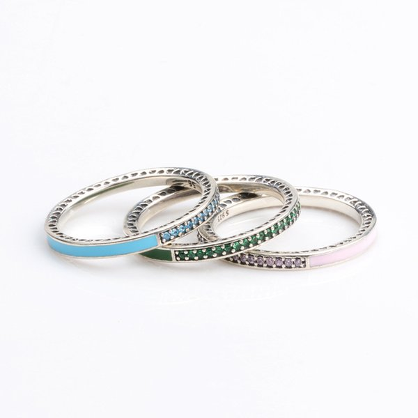 925 Sterling Silver Band Ring Blue\Pink\Green Enamel and Clear CZ stone Womens Ring Logo Original box for Pandora Jewelry
