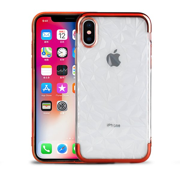 For iPhone XS MAX X 7 Plus Electroplating Soft TPU Clear Case Diamond Design Phone Cover for Samsung S9 A7 A8 2018 Huawei