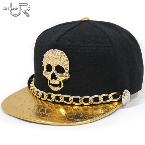 2015 Yeni Batı Unisex Punk Deri Altın Zincir Perçin Düğmeler Ile Snapback Şapka Kafatası Hip-Hop Beyzbol Şapkası Düz Kenarlı Şapka 6 Renk