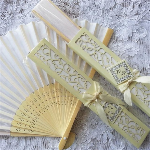 best selling Personalized Luxurious Silk Fold hand Fan in Elegant Laser-Cut Gift Box +Party Favors wedding Gifts+printing 100 pcs lot