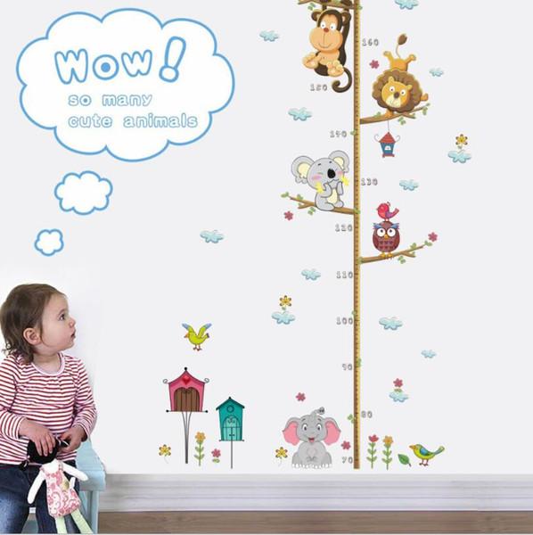 Jungle Animaux Hauteur Mesurer Sticker Mural Pour Enfants Chambres Croissance Graphique Nursery Room Decor Stickers Muraux
