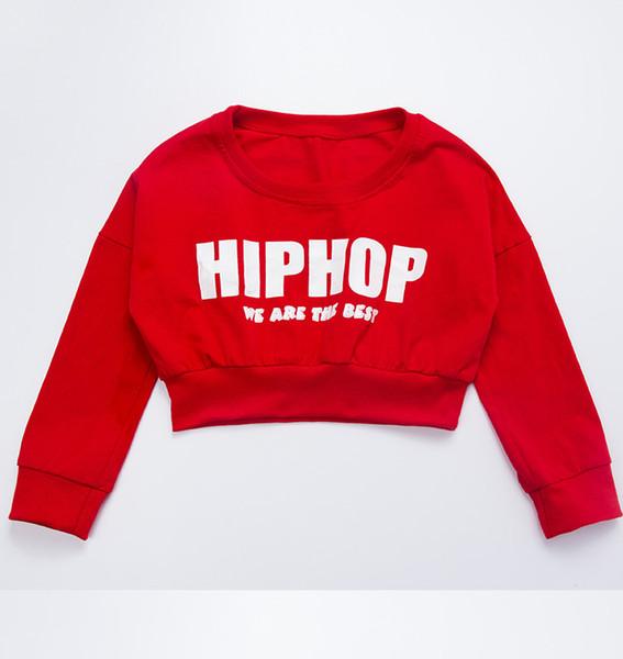 Mädchen Rot Langärmelige Jazz Hip Hop Dance Kostüm Lose Pullover Cropped Tops Shirt Für Kind Straße Moderne Tanzen Kleidung Tragen