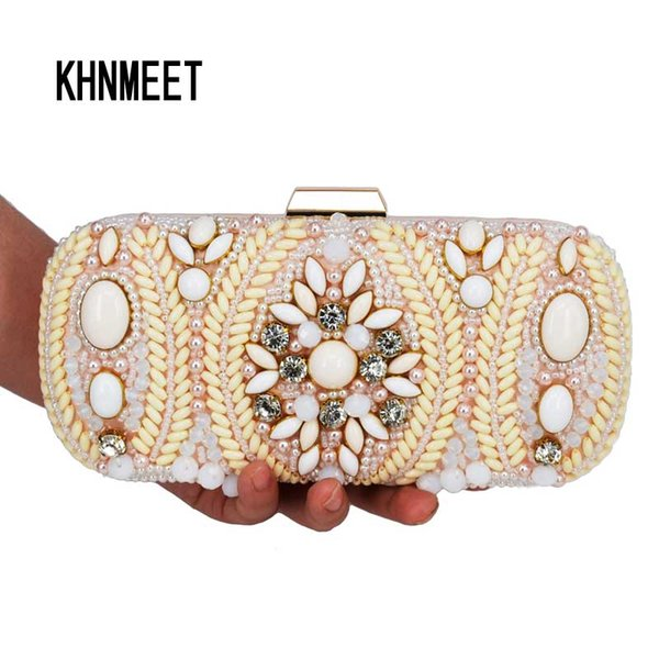 Newest beaded Evening Bag Pink Pearl Clutch Bag pochette soiree female Wholesale Prom Wedding Ladies Purse Day Clutches 807
