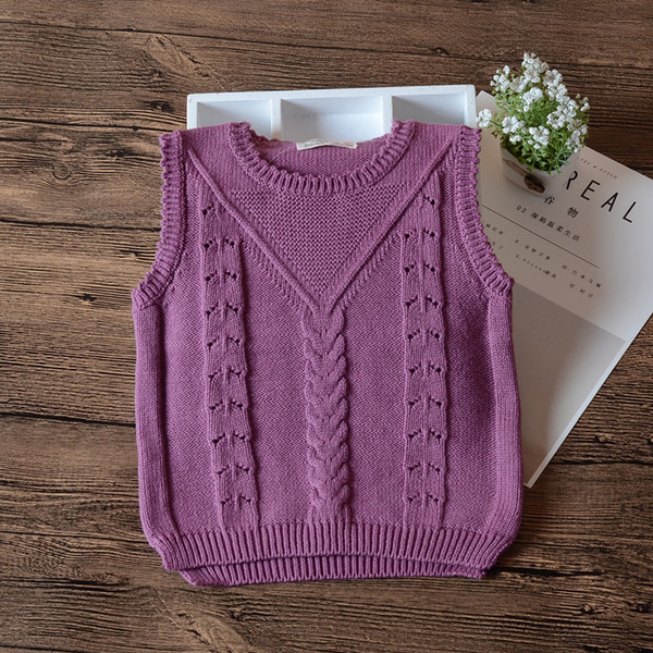 Purple Baby Girls Sweater Waistcoat White Girls Outerwear 2018 Spring Autumn Baby Toddler Clothes 6 9 12 18 24 Month RKC185070