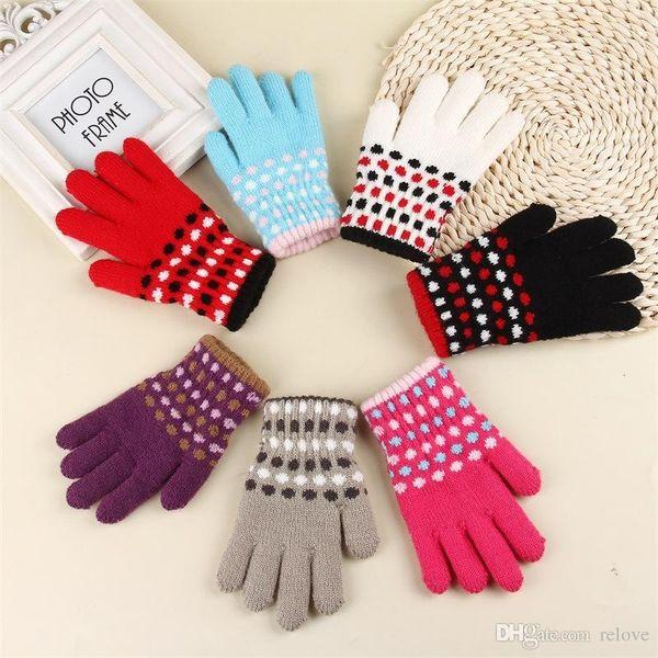 2017 New Warm Winter Kids Thicken finger Gloves Boy s Girls Jacquard Knitted Crochet Warm Gloves