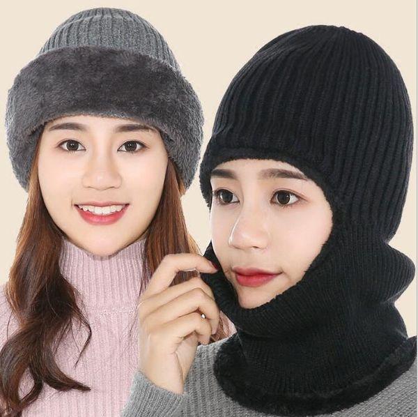 Cappello invernale a tinta unita berretto lavorato a maglia unisex all'aperto caldo bavaglino lingua berretto moda joker protettore orecchio collo cappuccio ragazzo ragazze cappelli