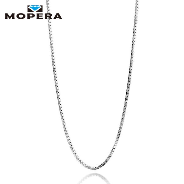 Mopera Real 925 Sterling Silver Handmade Fine Jewelry Fashion Slim Box Chain Necklaces For Women Silver Chain Jewelry Collier