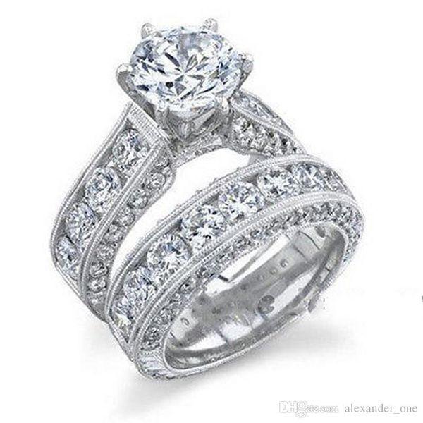 Victoria Wieck Luxury Cocktail Wedding Bride Band Ring gioielli 10KT riempito in oro bianco Simulato Diamond Gemstone Rings dito Set per le donne