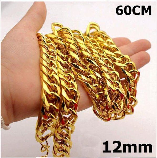 New Big Yellow Solid Gold Filled Cuban Chain Necklace Thick Men's Jewelry Women's Cool for dad boyfriend birthday gift B5
