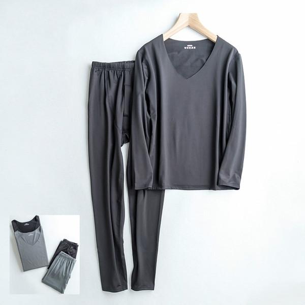 Tek parça renk sıcak kadife V Yaka erkek termal iç çamaşırı Artı Boyutu paçalı don kış giysileri erkek külot