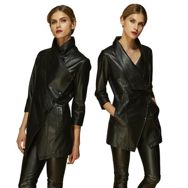 2017 primavera e outono de pele de carneiro couro genuíno de três quartos blusão jaqueta de couro de moda feminina YF1361