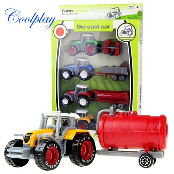 Coolplay 1:64 4 шт/комплект пластик АБС имитация сплава фермер автомобиль Модель игрушка инженерно автомобиль грузовик образовательных головоломки игрушки для детей