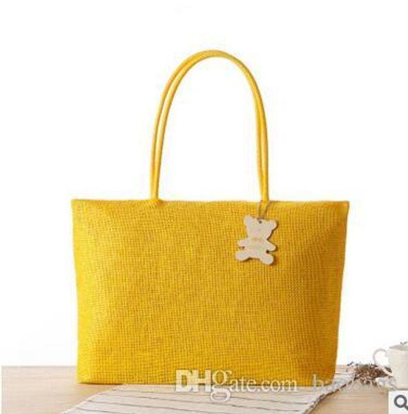 wholesale Bohemian Woven Shoulder Bags Summer Holiday Travel Handbags Simple Cheap High-capacity Beach Bags 16 Color Free Shipping